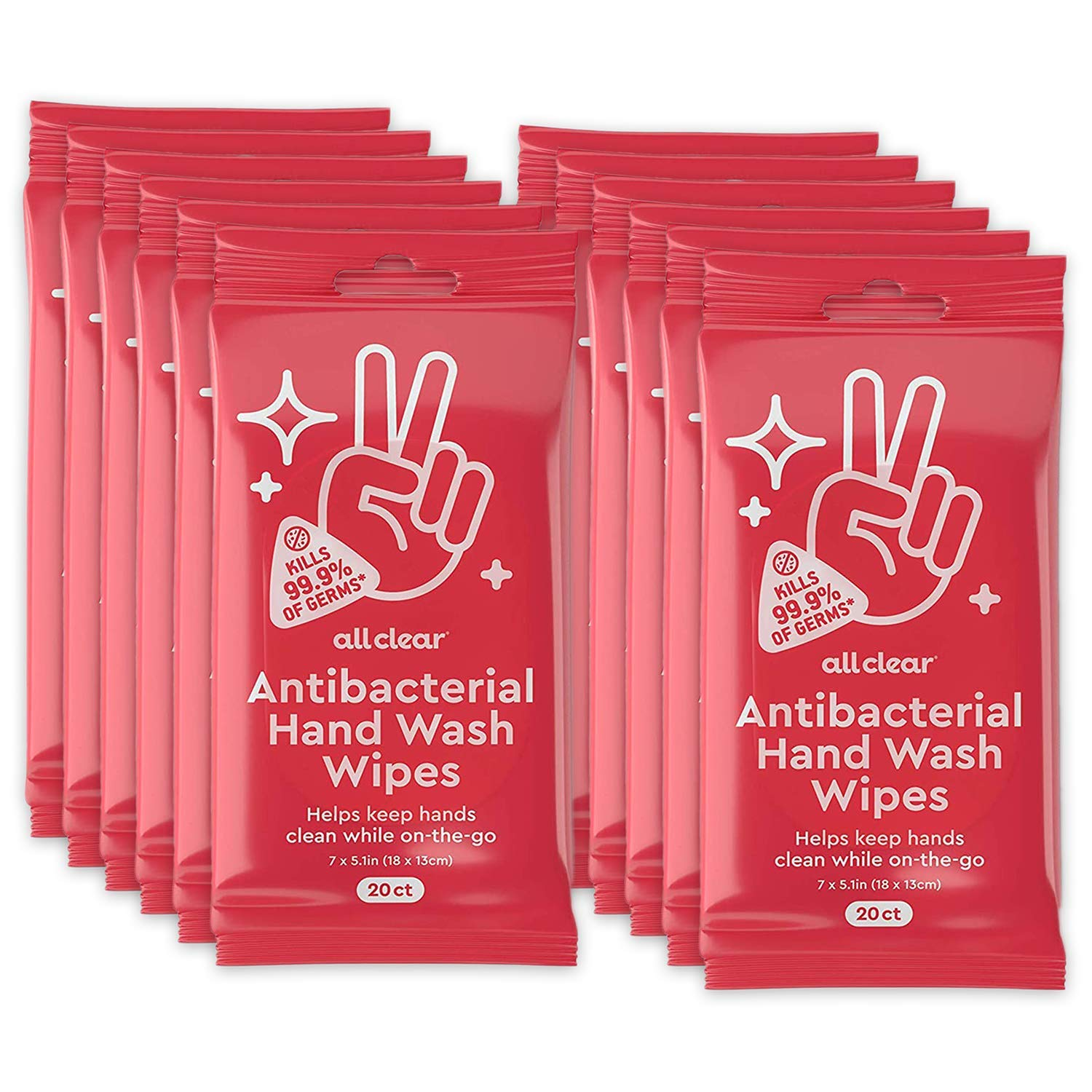 All Clear Antibacterial Hand Wash Wipes   20 Count (Pack of 12) 240 Total Hand Sanitizing Wipes