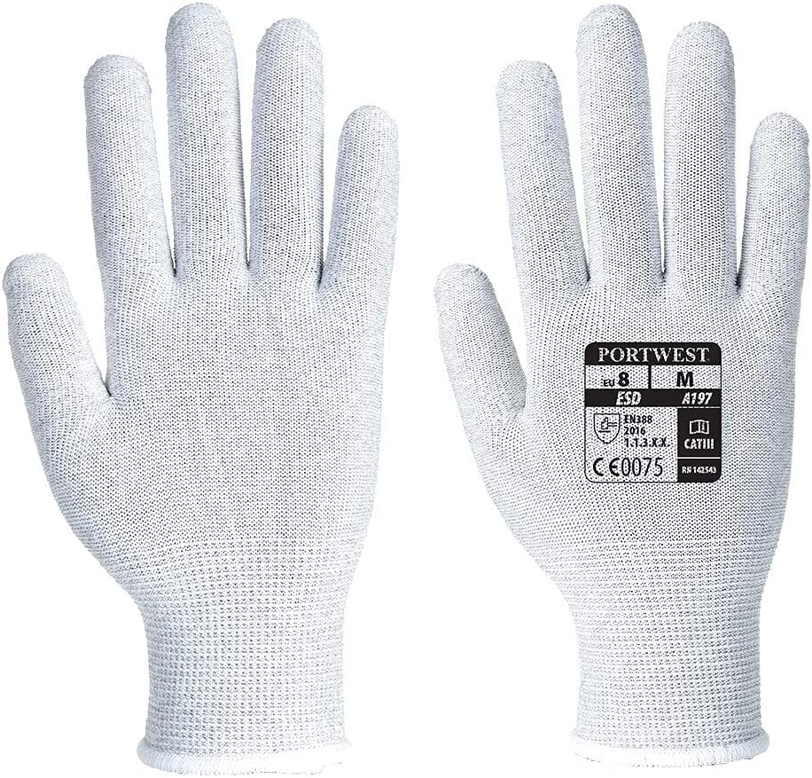 Details about  /Unisex Antiskid Cleaning Gloves Anti Static Gloves PU Coated Finger Gloves