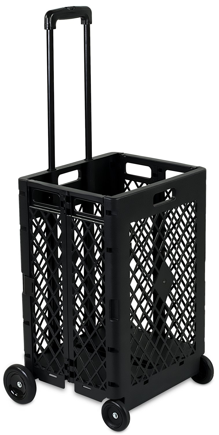 Mount-It Mesh Rolling Utility Cart, Folding and Collapsible Hand Crate on Wheels, 55 Lbs Capacity