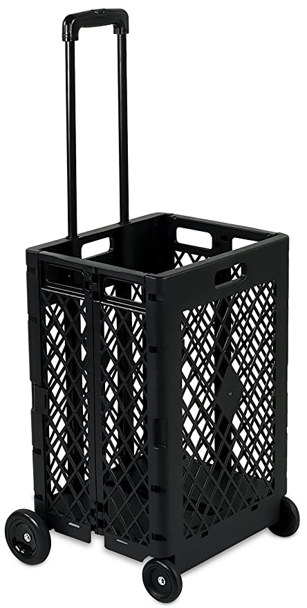 mount it mesh rolling utility cart folding and collapsible hand crate on wheels - Rolling Utility Cart