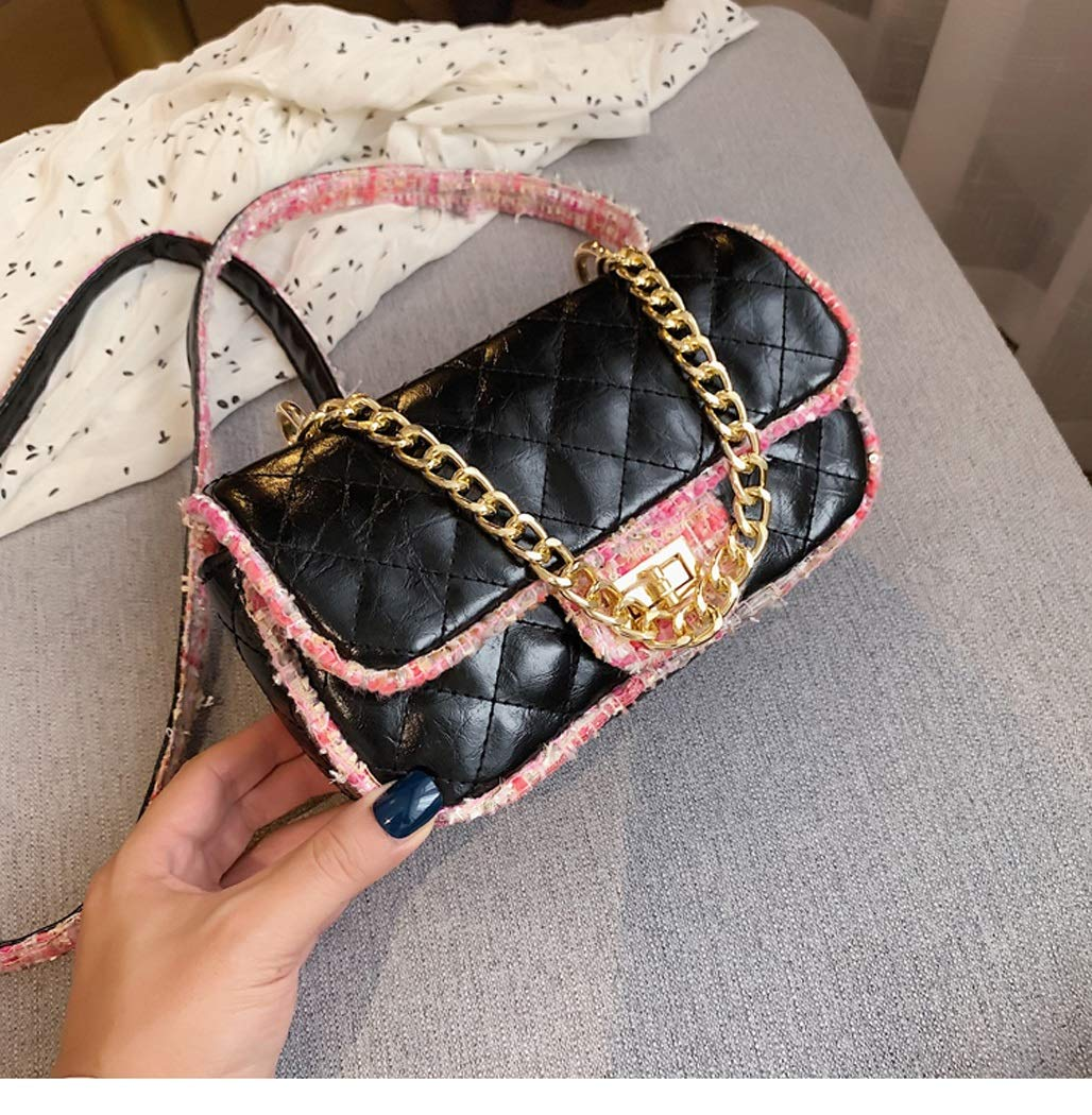 OUSHINA New 2019 High Sense French Niche Net Red Pouch Texture Messenger Bag Wild Shoulder Bag Color : Black, Size : 12206cm