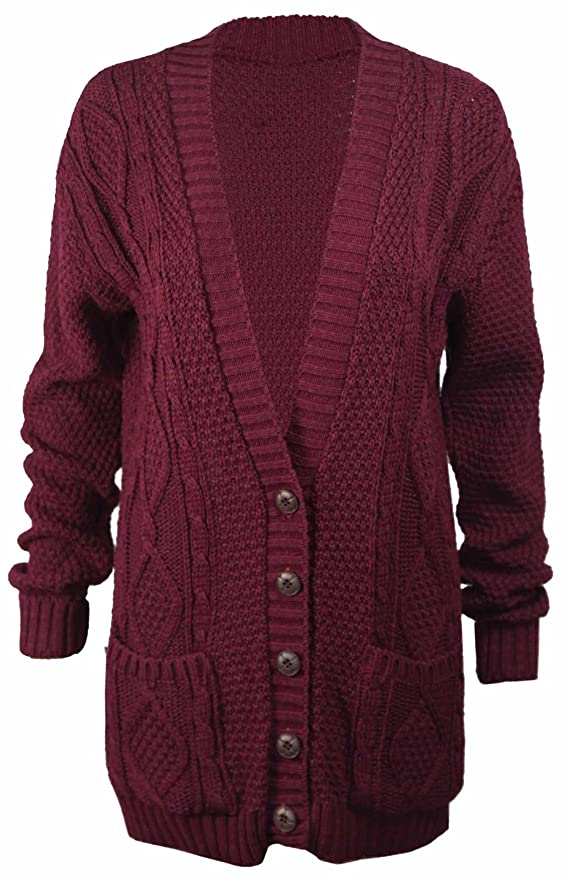 97c3e19cb7 Fashipap Women s Cable Chunky Knitted 5 Button Long Sleeves Grandad  Cardigans at Amazon Women s Clothing store