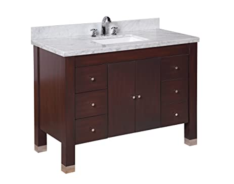 Kitchen Bath Collection KBC9948BRCARR Riley Bathroom Vanity With Marble  Countertop, Cabinet With Soft Close Function