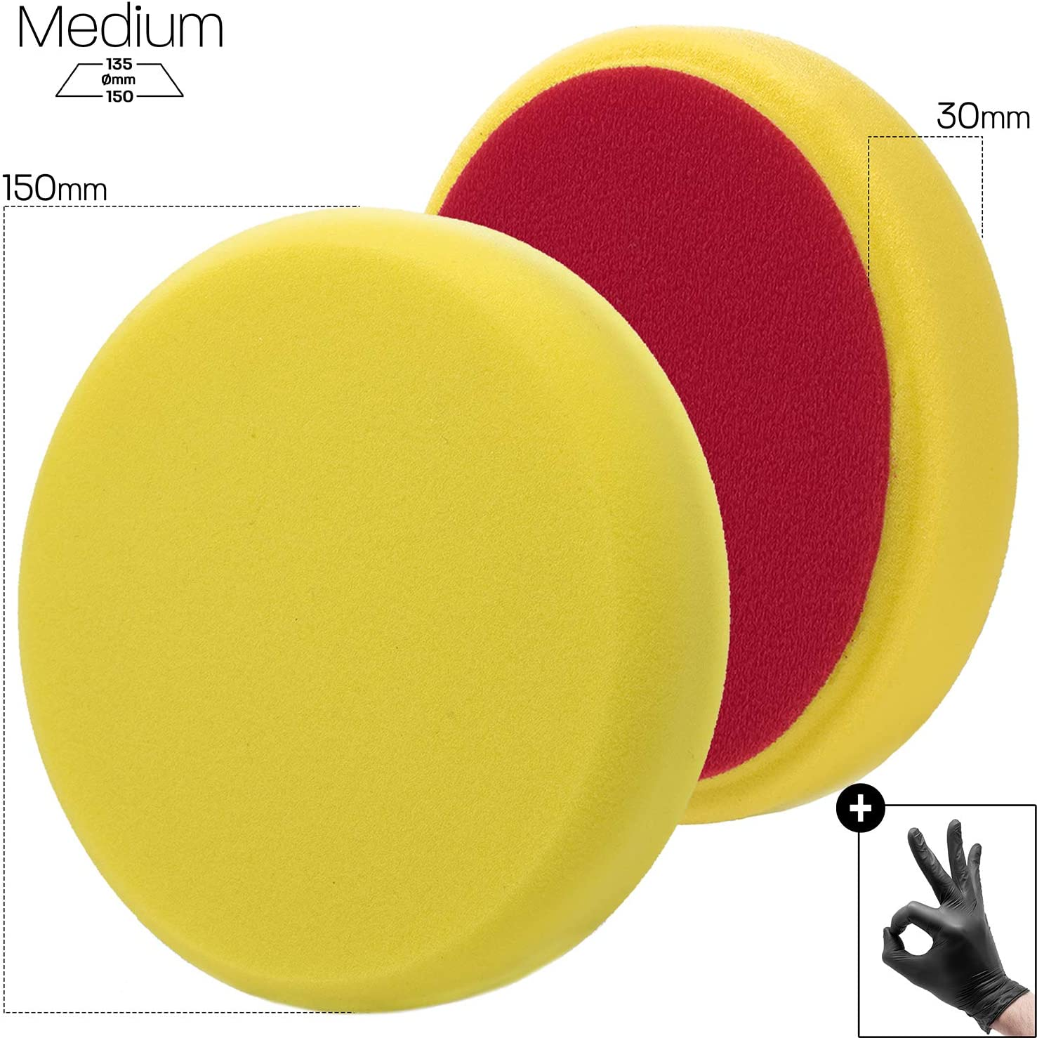 Detailmate Polierschwamm Menzerna Medium Cut Pad Standart Gelb 150 Mm P150m Polieren 1 Schutzhandschuh Auto