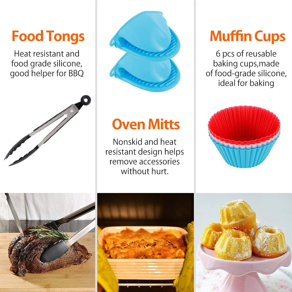 17pcs Universal Ninja Foodi Accessories, for Gowise Phillips and Cozyna or More Brand, Air Fryer Accessories Include Cake Bucket, Pizza Tray, Metal Stand and so on (7 in) 7 in