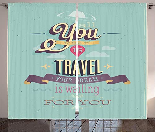 Ambesonne Vintage Curtains, Travel Dream Voyage Inspirational Motivational Themed Words Happy Advertisement Print, Living Room Bedroom Window Drapes 2 Panel Set, 108 X 96 , Blue