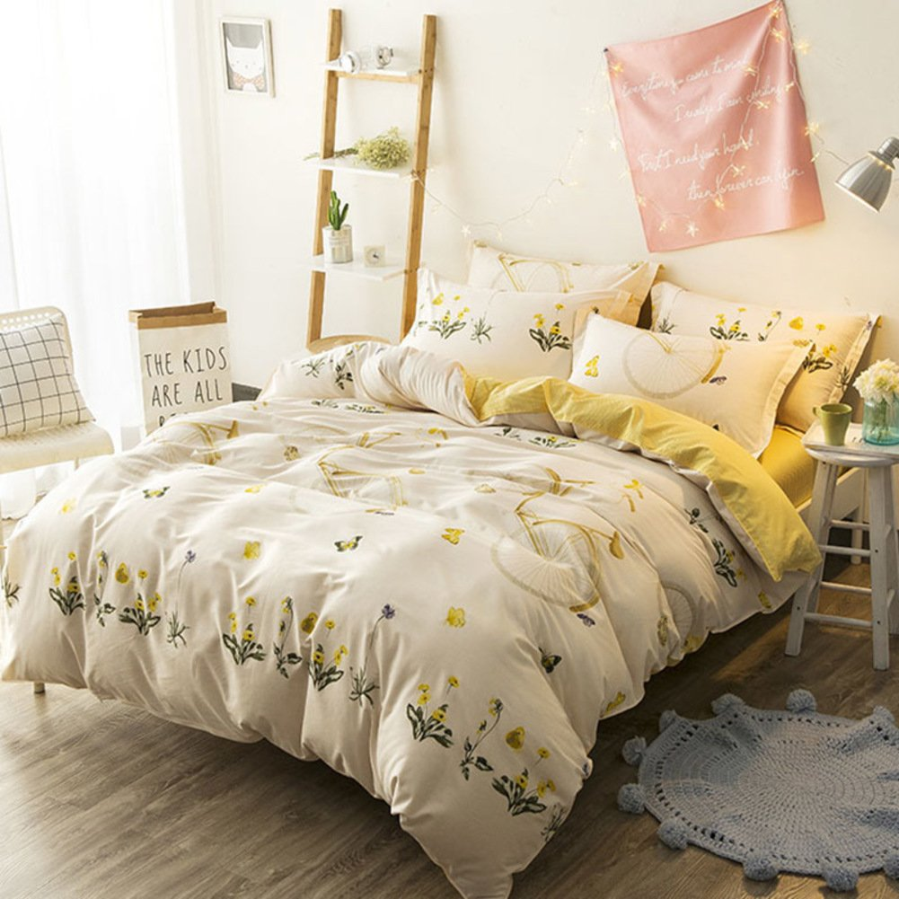 LJ&XJ Comfy duvet cover,Soft quilt cover breathable queen&king skin-friendly fade-resistant student dormitory-G 160x210cm(63x83inch)
