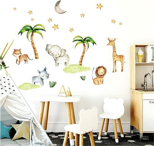 Little Deco Wandsticker Kinderzimmer Elefant Löwe Palmen Dschungel I 124 x  86 cm (BxH) I Wandtattoo Junge Deko Babyzimmer Baby Bilder Wandaufkleber ...