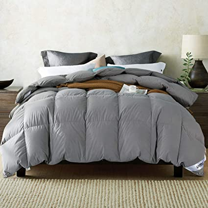 04552806889 Amazon Brand: Umi. Essentials Goose Feather and Down Duvet with 100% Cotton  Down-Proof Fabric (10.5 Tog, Super King, Grey)
