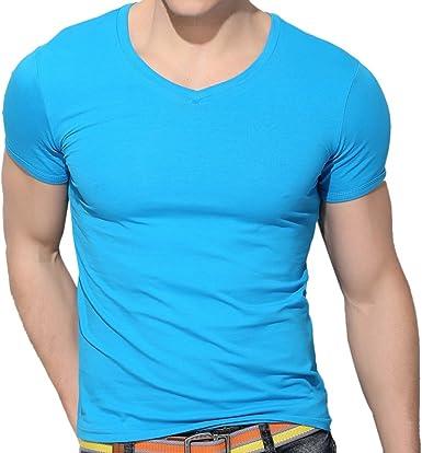 QIYUN.Z Los Hombres De Color Solido con Cuello En V Manga Corta De Algodon con Capucha Elastica Que Basan Las Camisas Camisetas