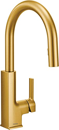 Moen S72308BG STO One-Handle High Arc Pulldown Kitchen Faucet with Power Clean, Brushed Gold