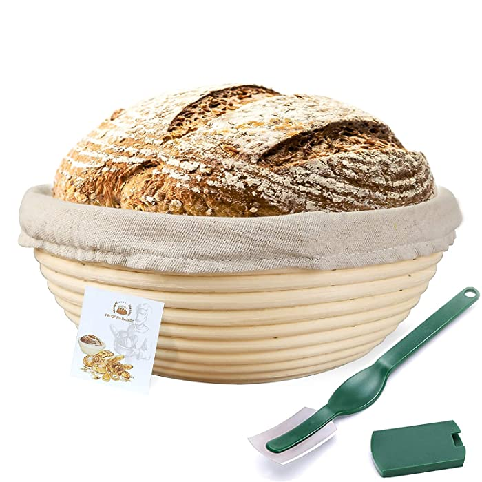 9 Inch Banneton Proofing Basket,WERTIOO Bread Proofing Basket + Lame + Linen Liner Cloth for Professional & Home Bakers (9 Inch)