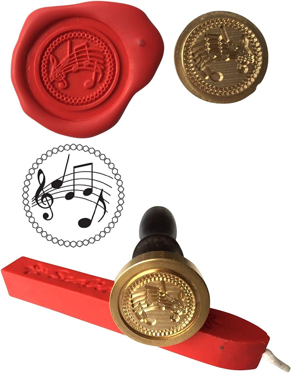 S14 Wax Stamp MUSIC SHEET Music Drama Seal and Red Wax Stick XWSC234-KIT