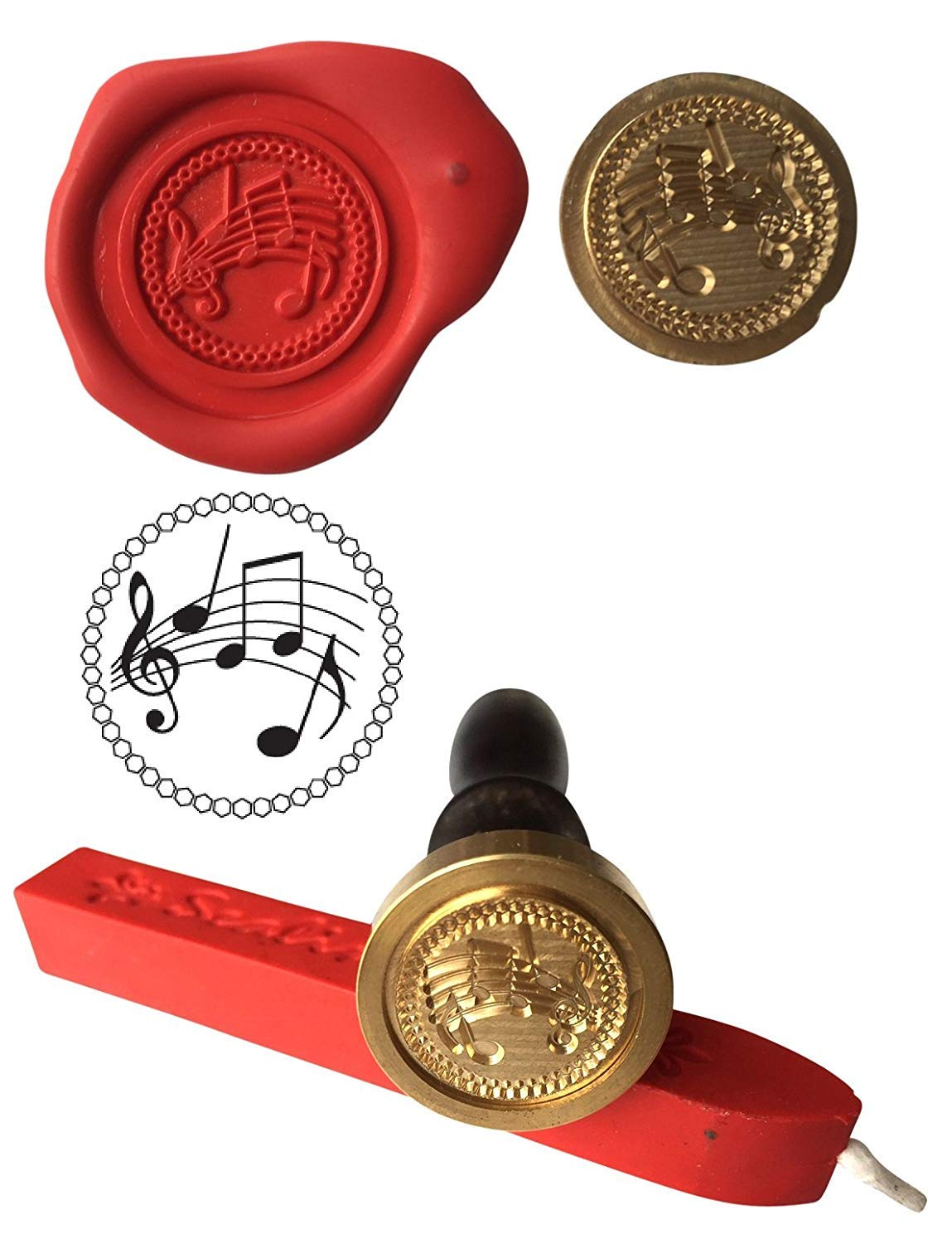Wax Stamp, MUSIC SHEET Music Drama Seal and Red Wax Stick XWSC234-KIT (S14) GTR-Gifts