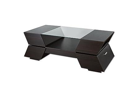 Pleasing Iohomes Annika Ultra Modern Glass Top Coffee Table Espresso Inzonedesignstudio Interior Chair Design Inzonedesignstudiocom