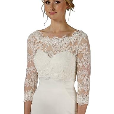 35006018e36bb Kengtong 3 4 Sleeve Women White Wedding Bridal Bolero Lace Jacket Wraps   Amazon.co.uk  Clothing