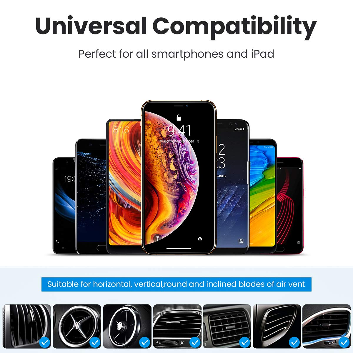 Galaxy Note 9//S8//S7 iPad Air 2//Mini 3 Ainope 6 Strong Magnets Phone Holder for Car Air Vent Cell Phone Holder Car with 360/° Rotation Compatible iPhone Xs MAX//XR//X//8//7 Magnetic Phone Car Mount