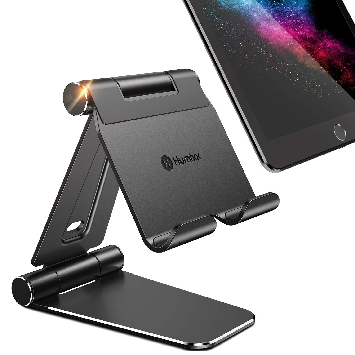 Humixx Tablet Stand, Dual Adjustable Phone Stand [Sturdy No-Slip/Shaking] Foldable Holder Dock for iPad Pro 12.9 Air Mini 4 3 2, iPhone Xs Max XR, Nintendo Switch Kindle Nexus Tab E-Reader (4-13 Inch) by humixx