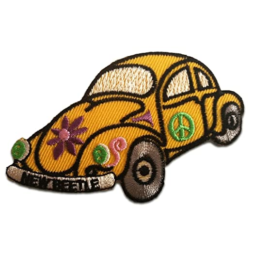Aufnäher // Bügelbild 4,5 x 7,3 cm Patch VW Beetle Käfer Retro Hippie bunt