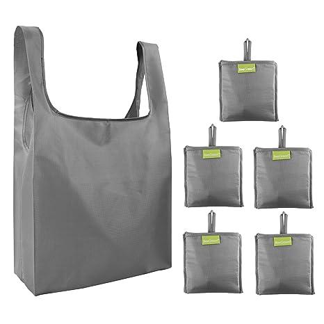 Bolsas plegables reutilizables para la compra, 5 bolsas, color gris, con bolsillo, ecológicas, plegadas, compactas, para compras, regalos, viajes, ...
