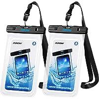 MPOW Funda Impermeable de XS Max/XR/X/8/8P/7/7P Galaxy Lite Bq aquaris x5 Xiaomi, Bolsa IPX8 Certificado Impermeable Transparente, Funda Playa para Movíl Universal de 6 Pulgadas (2pack) (Black)