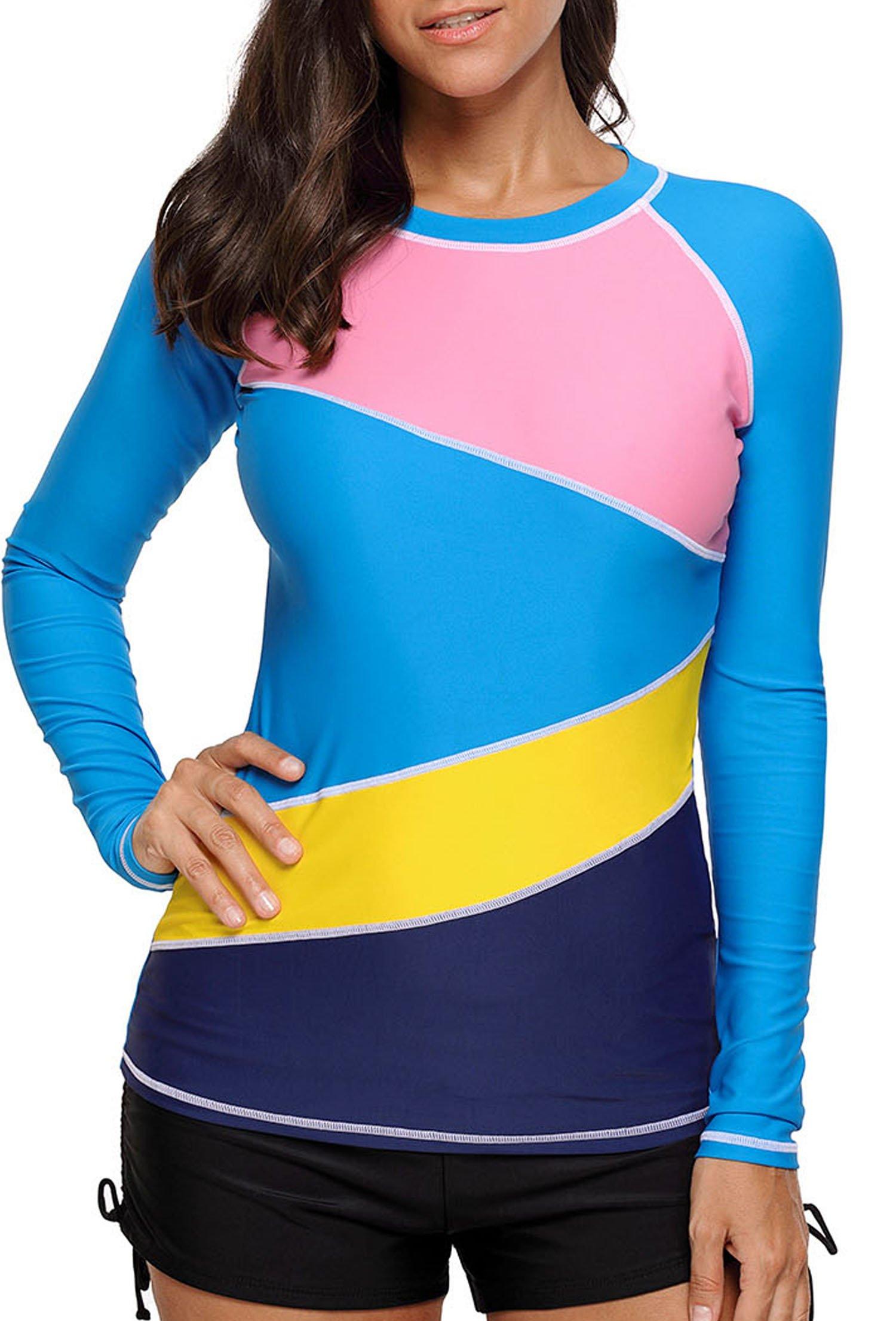 Aleumdr Womens Long Sleeve Rashguard Swimwear Printed Rash Guard Wetsuit Athletic Tops Surfing Shirt Swimsuit No Bottoms