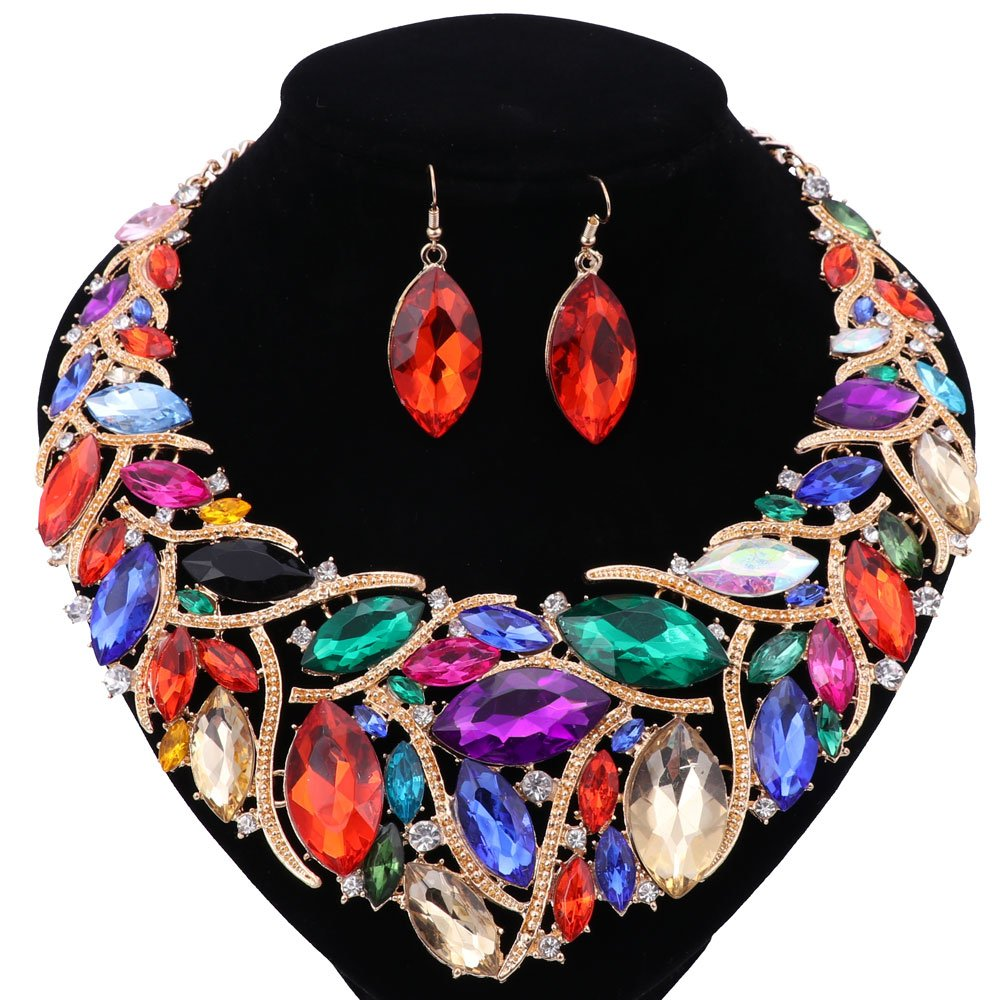 African Beads Jewelry Sets Women Bridal Crystal Statement Necklace Earring Jewelry Sets (Colorful)