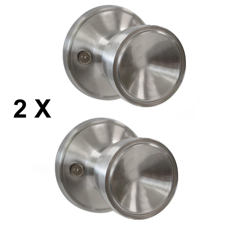 1 PCS Probrico Round Door Handle On Rose Stainless Steel Door Knob Brushed Nickel Base Diameter 65mm(2-1/2 inch) DL609SNDM