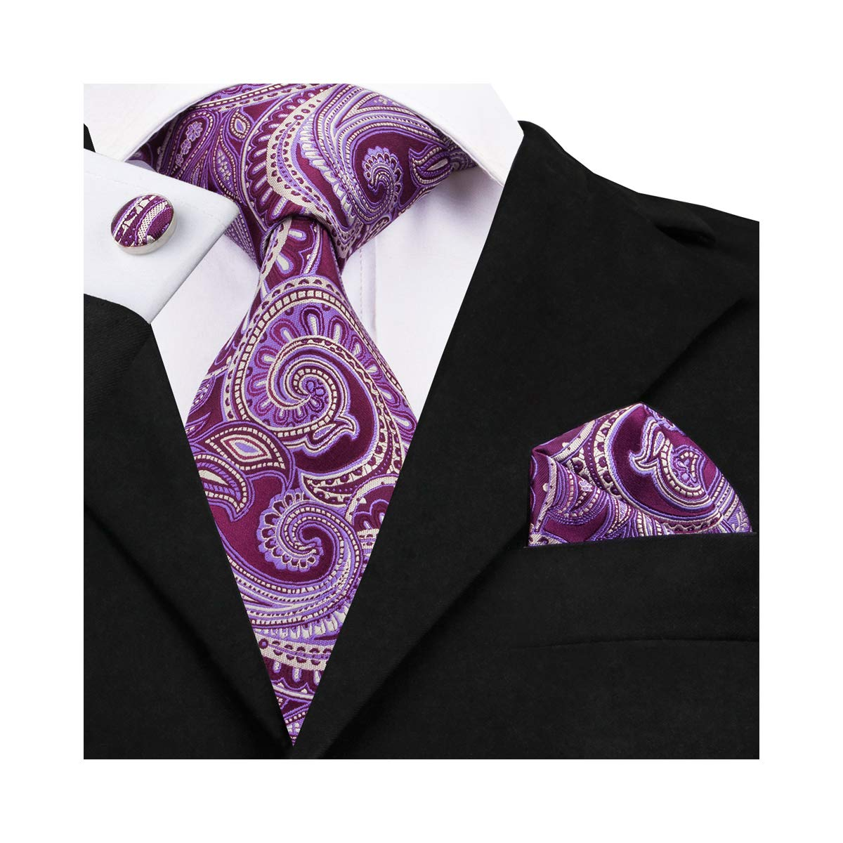 Purple Paisley Tie,DiBanGu Silk Woven Tie Pocket Square Set Necktie Wedding Party Business