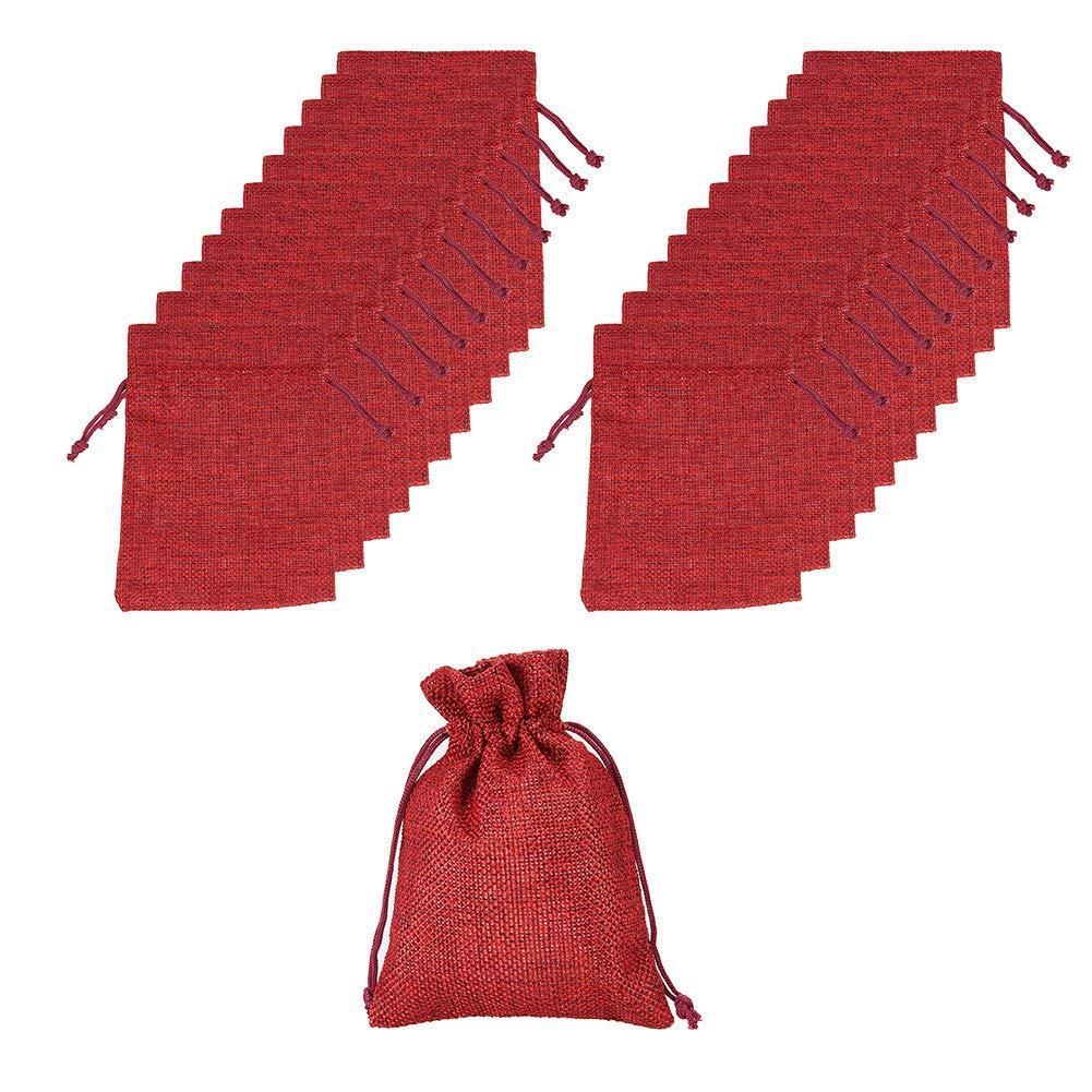 NBEADS 100pcs Bolsas de Lazo de arpillera Bolsas de Regalo para el Banquete de Boda y artesanías de Bricolaje, Borgoña, 13.5 x 9.5 cm