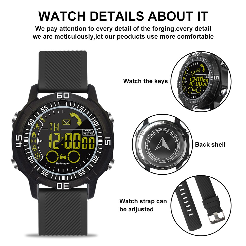 ROADTEC Sport Smart Watches for Men 5ATM Waterproof Bluetooth 4.0 Watch with Call SMS Notification Remote Camera Android IOS iPhone (Black)