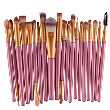 6519904cdc3f Freedi 20Pcs Professional Makeup Brush Set Cosmetics Foundation Blending  Eyeliner Powder Liquid Brush Tools Rose Gold