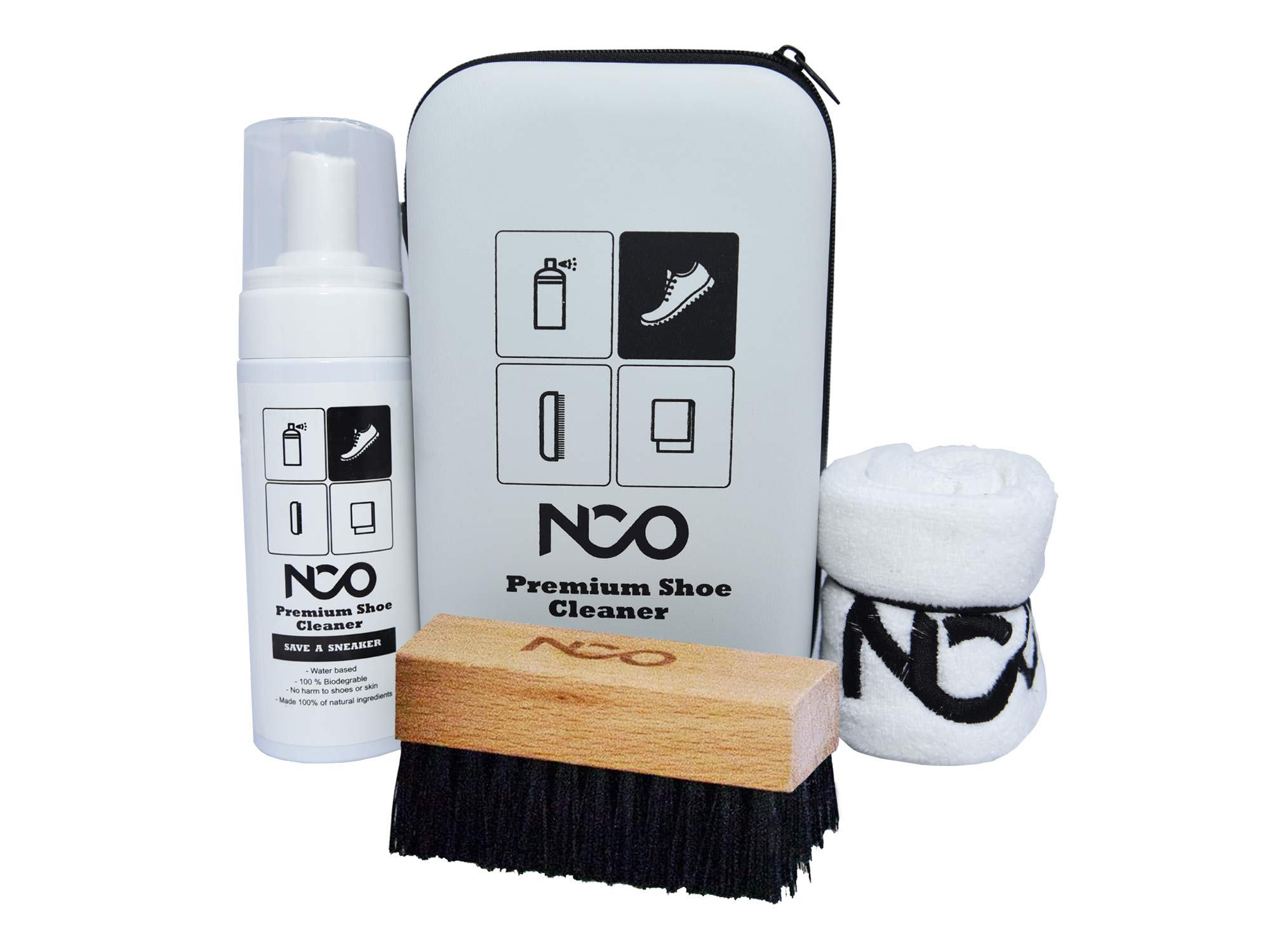 Premium Shoe Sneaker Cleaner Kit 150 ML Bottle Natural Foam Solution Set with Brush and Microfiber Towel Cloth Water Based Formula All in One Portable Kit by NCO (Image #1)