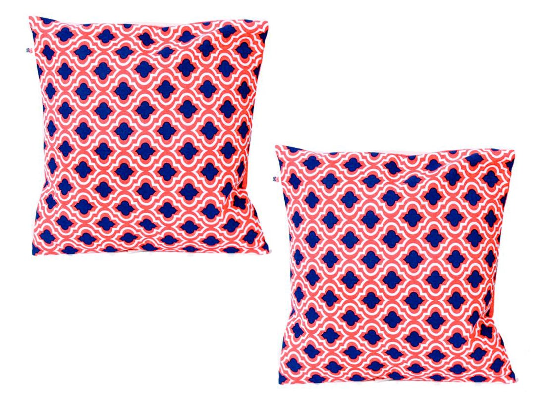 Everyday Style 2 Moroccan Pattern 16-inch Decorative Pillow Set (2-Orange)