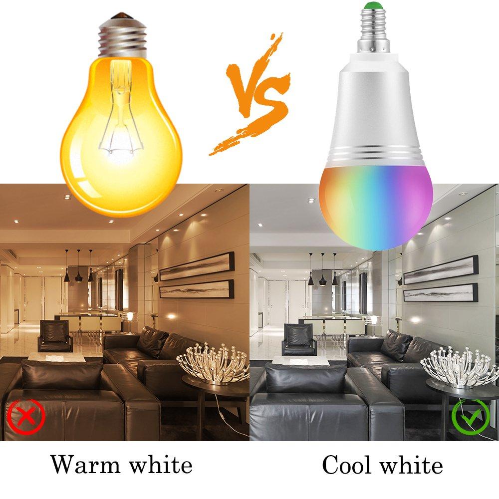 Lampadina Wi-Fi Intelligente Smart Bulb E14 Dimmerabile LED Light 16 Milioni di Colori di Illuminazione 7W W6000K+RGB Telecomando con Smart Device di Amazon Alexa e Google Home-Luce Bianco