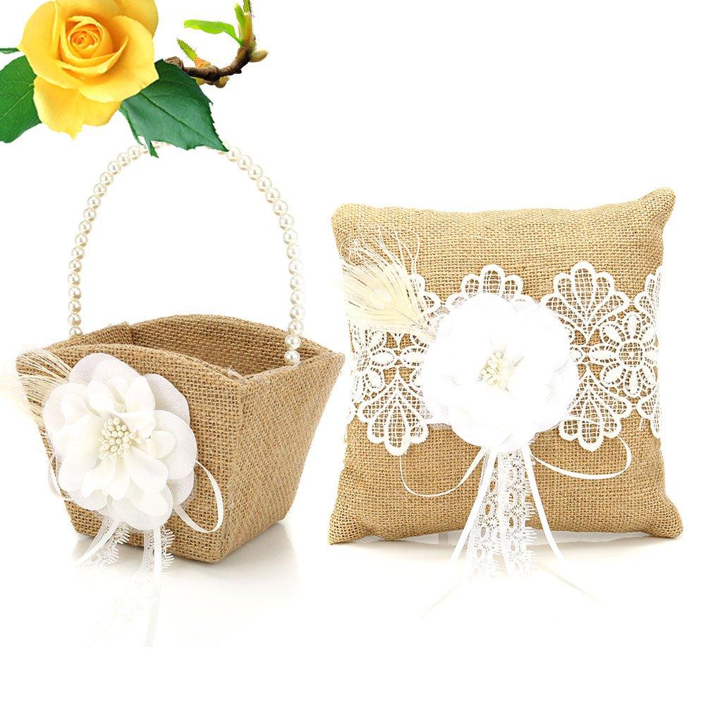Lznlink 2 Pc/ Set Wedding Burlap Hessian Flower Ring Pillow + Flower Basket Wedding Decoration Supplies