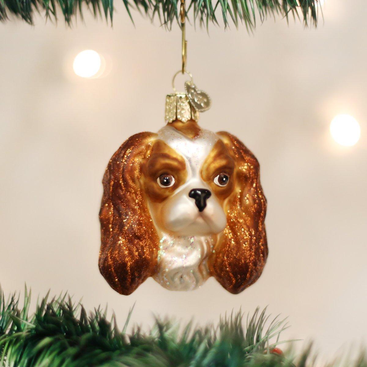 Old World Christmas King Charles Spaniel Head Glass Blown Ornament