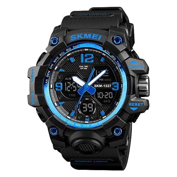 Reloj deportivo para hombre, impermeable, alarma 2 horas, 12/24 horas, reloj de pulsera casual con retroiluminación digital: Amazon.es: Relojes