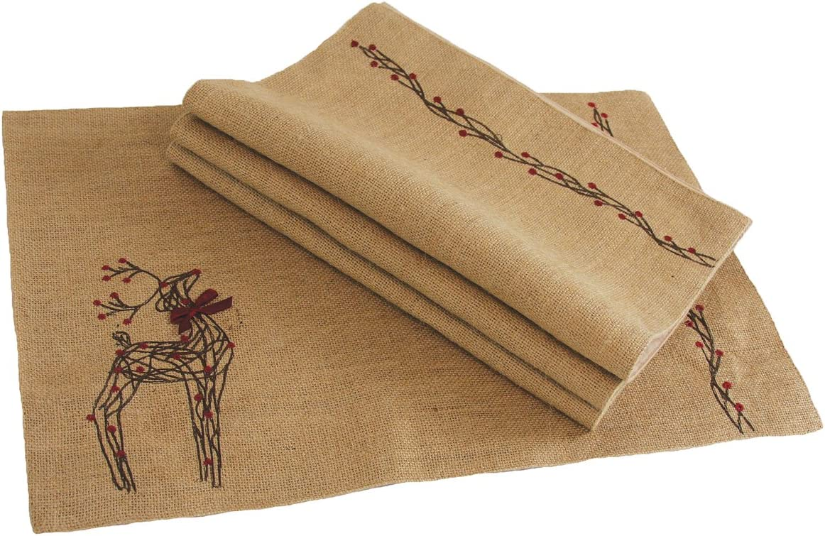 "Xia Home Fashions Rustic Reindeer Jute Christmas Placemats, 13 by 20"", Set of 4"