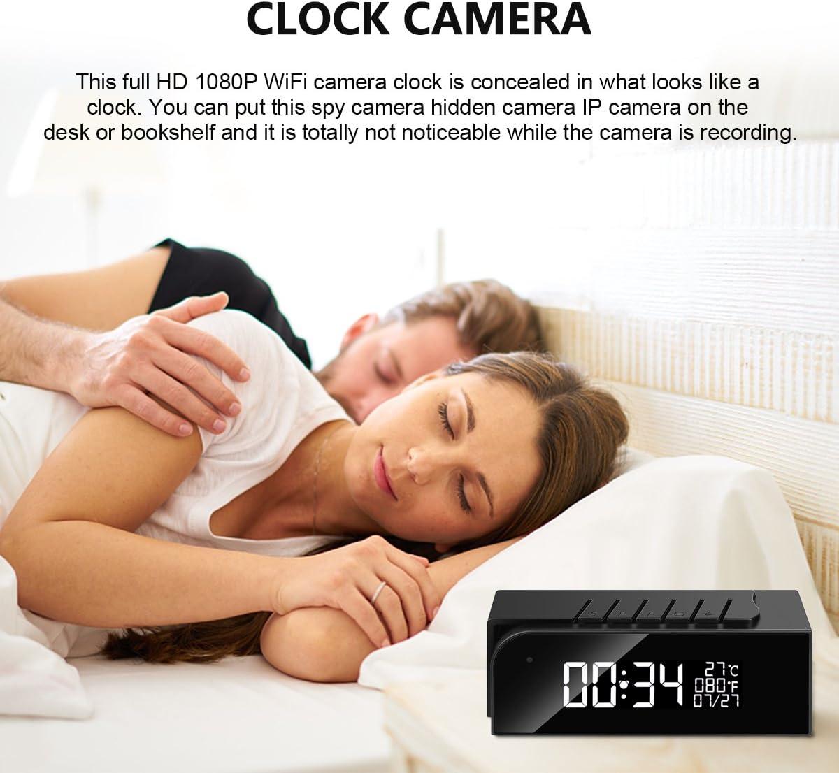 Hidden Camera Alarm Clock Spy Camera WiFi Cameras Wireless Mini Nanny Cam  Motion Detection Home Surveillance Security Super Night Vision Temperature  ...
