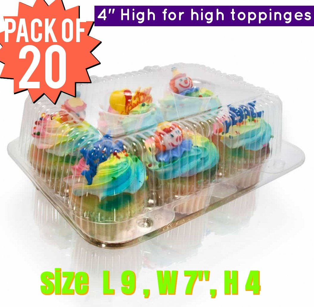 6 Cavity Cupcake Container Strong and Sturdy, BPA Free, Cupcake and Muffin Containers with Superior Hinged Lid,crystal Clear Plastic cupcake containers( pack of 15, 6-Compartment) The Bakers Pantry®