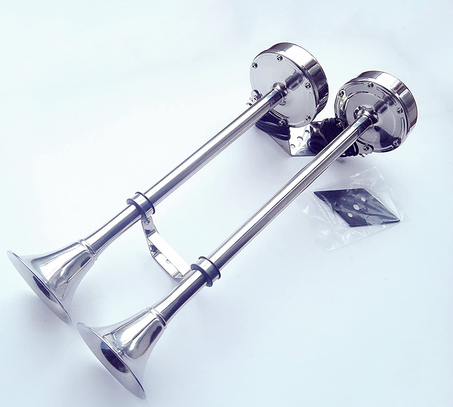 BOAT//MARINE//TRUCK//RV 12V STAINLESS STEEL DUAL TWIN TRUMPET ELECTRIC SIGNAL HORN