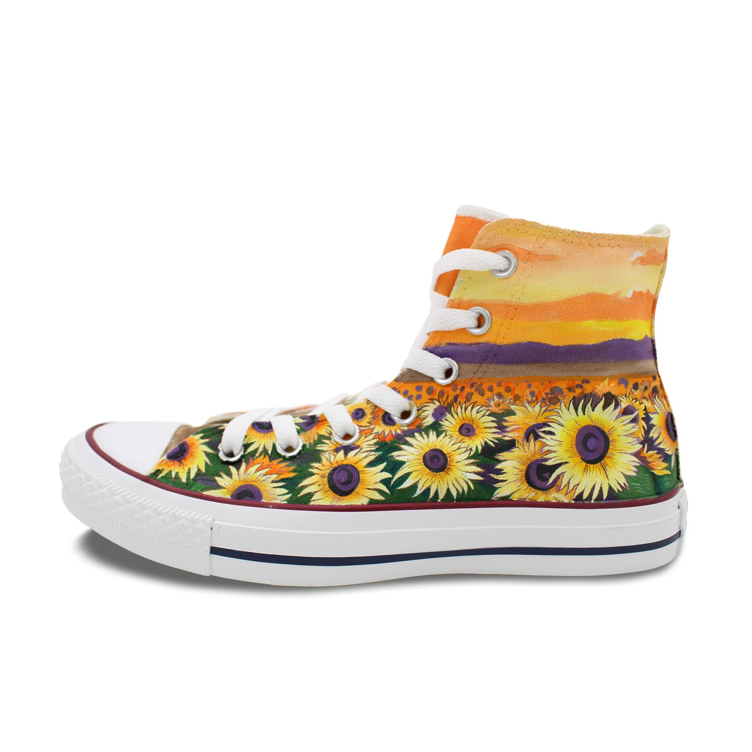 40bbf7751bcba Amazon.com | Wen Hand Painted Shoes Design Sunflower Floral High Top ...