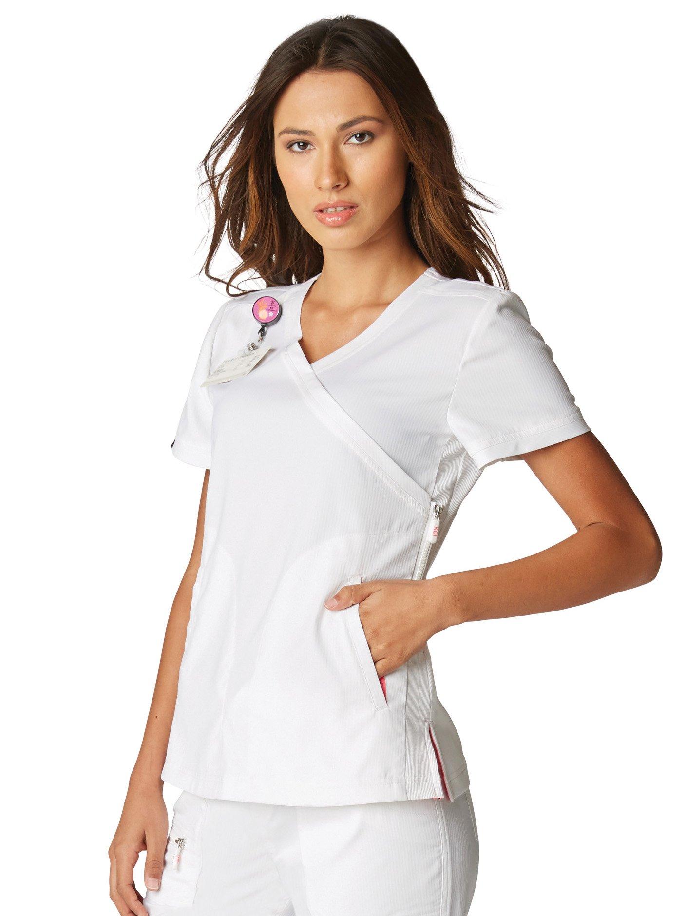KOI Lite Women's Philosophy 316 Mock Wrap Side Zipper Scrub Top- White- Small