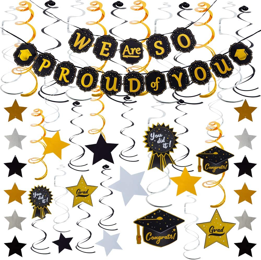 JOYIN Graduation Party Supplies 26 Hanging Swirls Strings Banner Graduation Party Decoration Graduation Party Favors