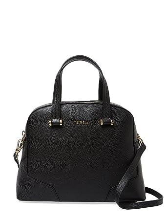 Amazon.com: Furla Michelle Saffiano Leather Satchel Bag, Onyx ...