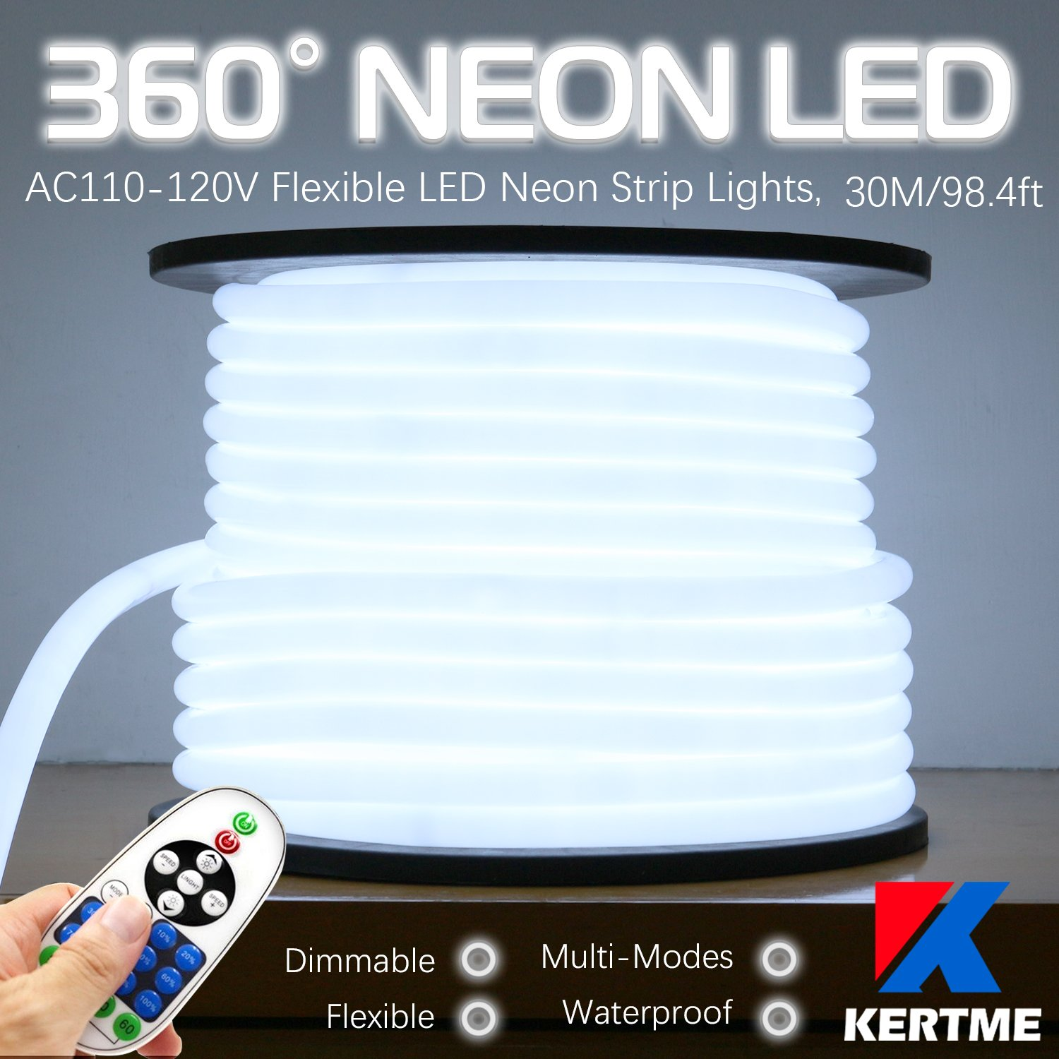 KERTME 360° Neon Led Type AC 110-120V 360 Degree NEON LED Light Strip, Flexible/Waterproof/Dimmable/Multi-Modes LED Rope Light + Remote for Home/Garden/Building Decor (98.4ft/30m, White 6000K)