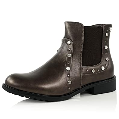 9516d5fe2b63a CucuFashion Chelsea Boots for Women Ladies Ankle Boots Side Zip Low Block  Heel Pearl Studded Zip