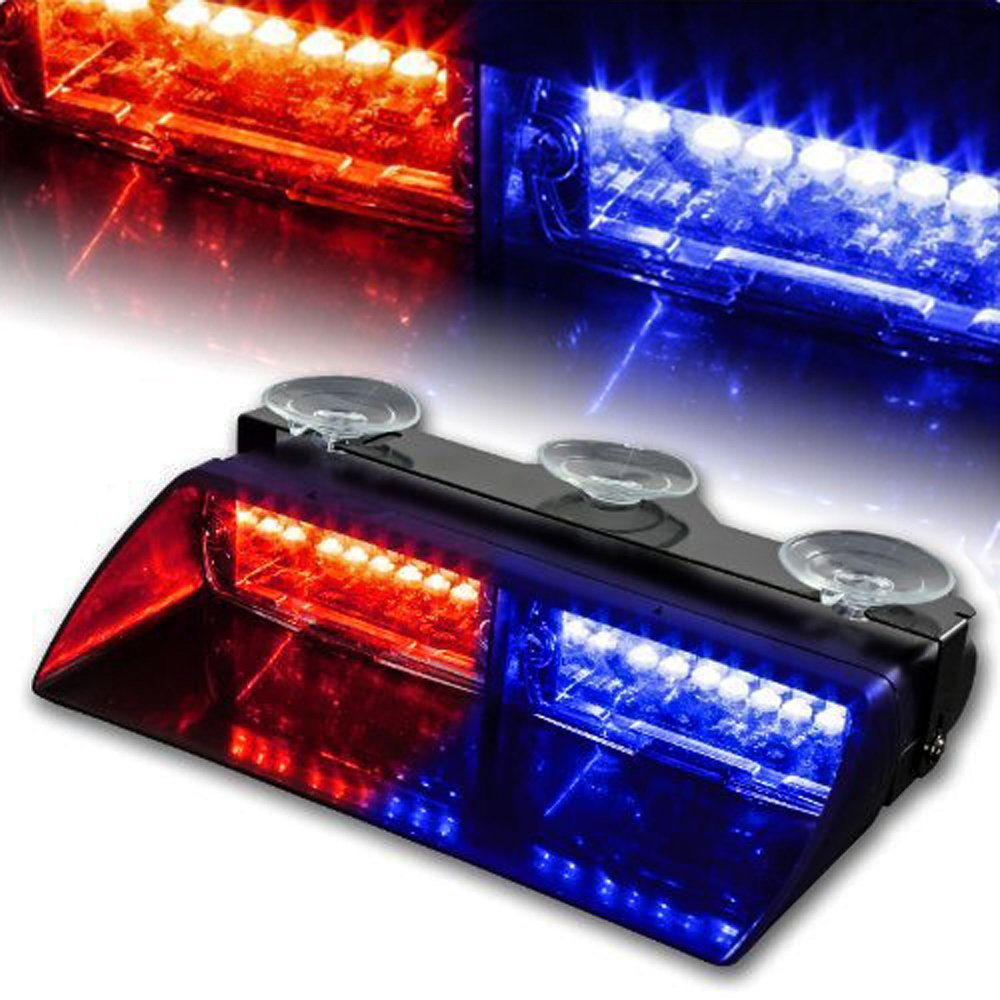Red//Blue WoneNice 16 LED High Intensity LED Law Enforcement Emergency Hazard Warning Strobe Lights 18 Modes for Interior Roof//Dash//Windshield with Suction Cups
