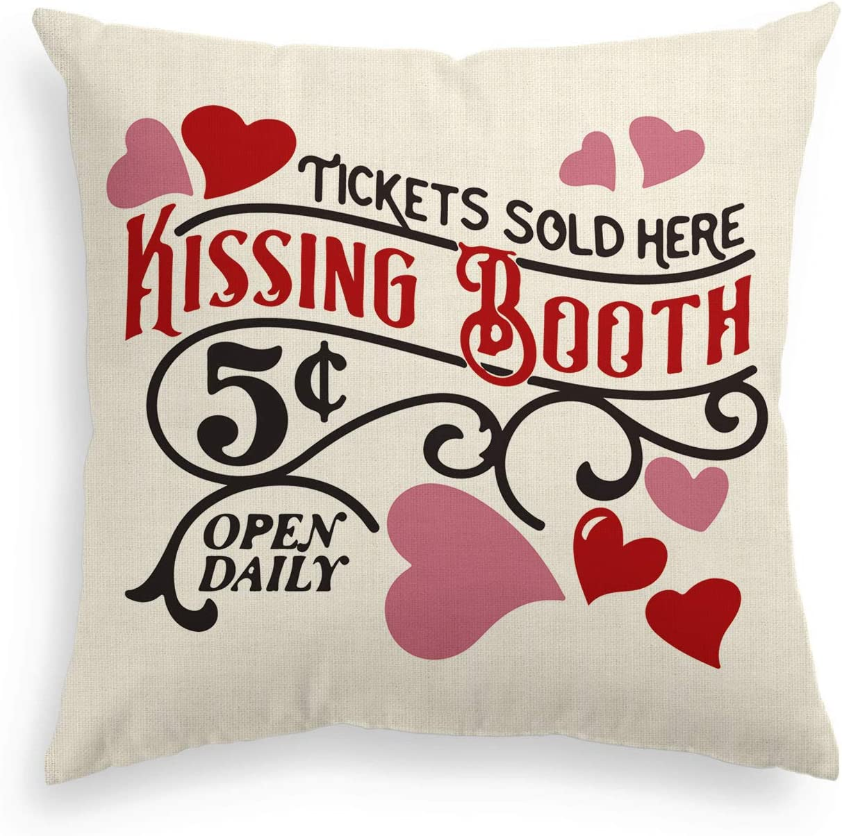 AVOIN Valentine's Day Kissing Booth Throw Pillow Cover Love Heart, 18 x 18 Inch Holiday Anniversary Wedding Cushion Case Decoration for Sofa Couch